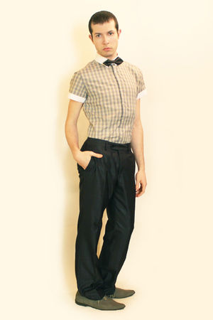 beige Sisley shirt - gray Zara pants - gray H&amp;M tie - gray H&amp;M shoes