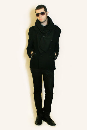 black Zara coat - black Deepstyle scarf - black Zara pants - black shoes - H&M S