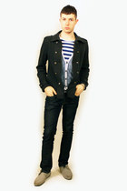 silver Zara shoes - navy Zara jeans - navy from Tokyo jacket - blue H&M shirt -