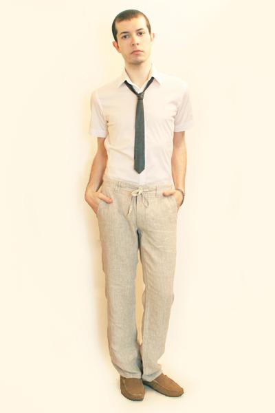 Mens White Zara Shirts, Beige H&M Pants, Gray Hanjiro