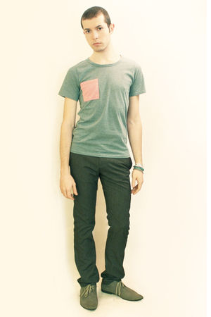 green t-shirt - gray Zara pants - gray H&amp;M shoes - Silver Topman bracelets - Gre