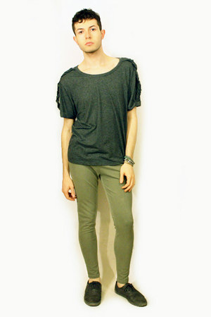 charcoal gray Zara shoes - charcoal gray Topman t-shirt - lime green Zara pants