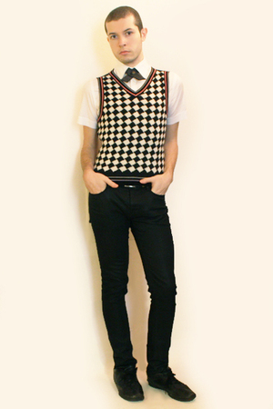 Zara shirt - Handmade from Etsy tie - vintage from Paris vest - Zara pants - sho