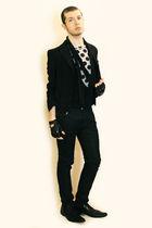 gray Comme des Garcons for H&M t-shirt - black Npfeel jacket - black vintage ves