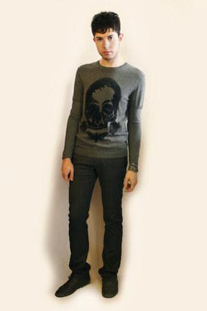heather gray Zara shoes - heather gray Sisley sweater - heather gray Zara pants