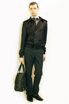 gray Zara shirt - gray Zara jacket - gray Zara pants - gray H&M Bag - gray H&M t