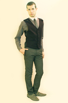 gray Zara shirt - gray H&M shoes - gray Zara vest - gray Zara pants