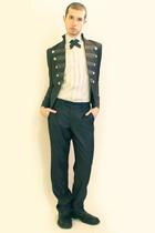 gray Deepstyle jacket - white H&M shirt - gray Etsy tie - gray Zara pants - blac