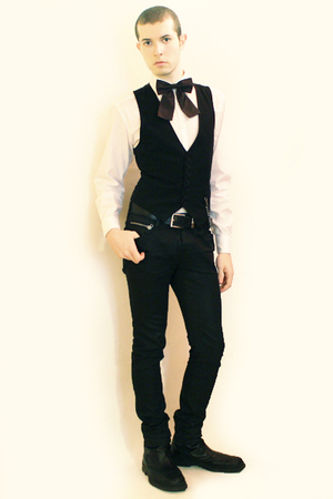 purple H&amp;M tie - black Sisley vest - black Zara pants - white Misaky shirt