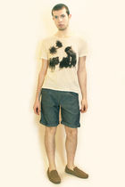 beige Zara t-shirt - blue Zara shorts - brown H&M shoes