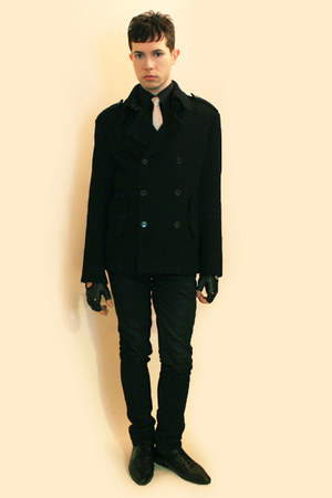 white tie - black Zara shoes - black Zara coat - black Misaky shirt