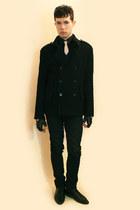 white tie - black Zara shoes - black Zara coat - black Misaky shirt