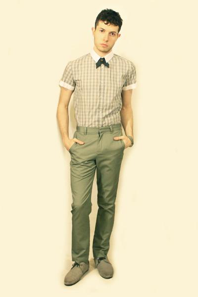 heather gray Zara shoes - beige Sisley shirt - lime green American Apparel pants