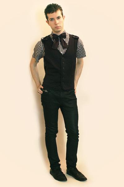 white Comme des Garcons shirt - gray Zara vest - black Zara pants - purple H&M t