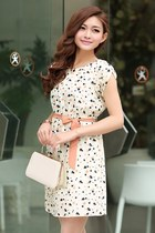 Short sleeve dress Floral print chiffon dress Unique style fashion GHL0145