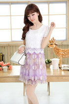 Short Sleeve Lace and Organza Dress YRB0046