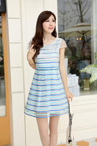 Crocheted Top Mini Stripe Organza Dress YRB0039