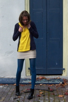 H&M sweater - Old Navy shirt - Old Navy skirt - TJ Maxx tights - payless boots