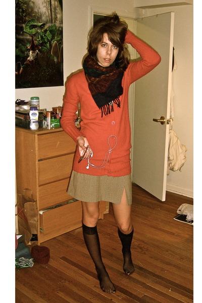 red tomfoolery cardigan - tan flea market skirt - black My moms socks - black da