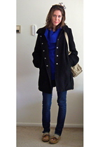 blue H&M sweater - black f21 coat - blue hollister jeans - beige Minetonka shoes