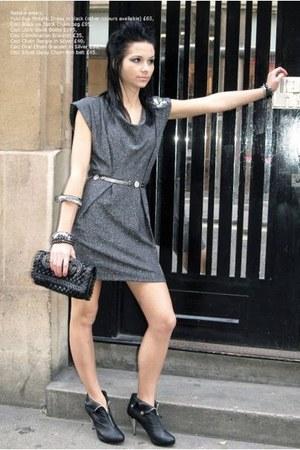 charcoal gray cowl neckline YUKI TOKYO dress