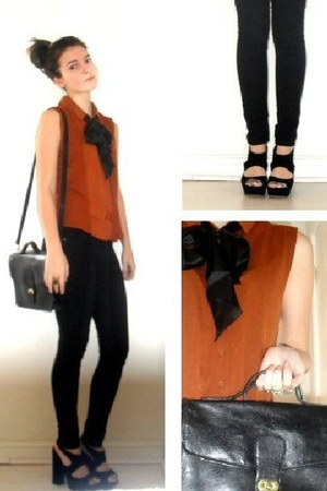 tawny sleeveless Topshop shirt