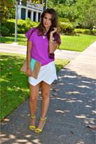 magenta top H&M shirt - aquamarine clutch Madly-yours purse
