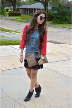 black fringe Forever 21 skirt - red fashion academy KRChronicles shirt