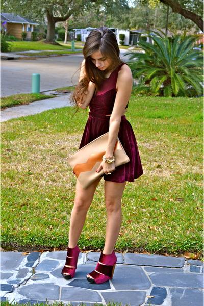 velvet Messeca shoes - velvet Mink Pink dress - Madly-yours purse
