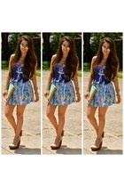 bubble gum floral skirt haus 131 skirt - navy anchor tee Skip n Whistle shirt
