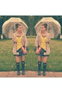 Navy-hunter-boots-yellow-neon-sweater-zara-shirt-ruby-red-madly-yours-purse