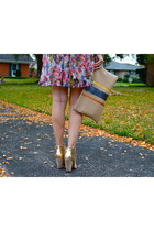 glitter booties Aldo boots - floral Lush dress - Madly-yours purse
