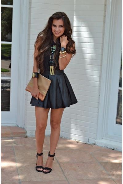 blouse TJ Maxx shirt - clutch Madly-yours purse - vegan skirt Nasty Gal skirt