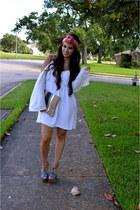 navy clutch Madly-yours purse - ivory dress Nasty Gal dress