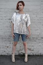 silver vintage top - blue DIY 7 for all manking shorts