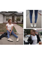 white vintage t-shirt - blue H&M leggings - white vintage shoes