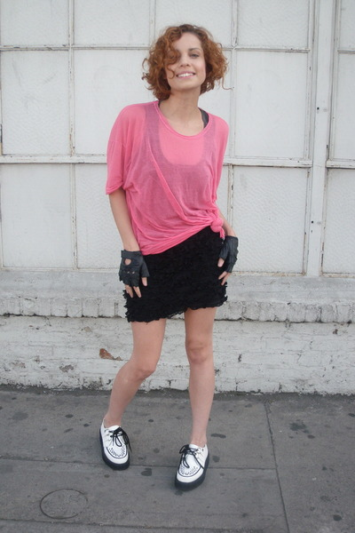 black Forever 21 skirt - white TuK creepers shoes - pink American Apparel t-shir