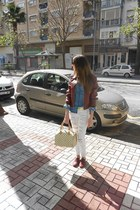 Primark shoes - old jacket - Bershka shirt - LV purse - suiteblanco pants