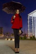 Bershka heels - suiteblanco bag - Bershka pants - Sfera cape