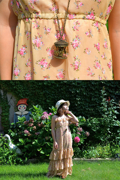 carousel romwe necklace - floral romwe dress - white sun hat offbrand hat