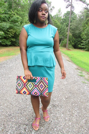 hot pink studded sandals - sky blue teal peplum dress