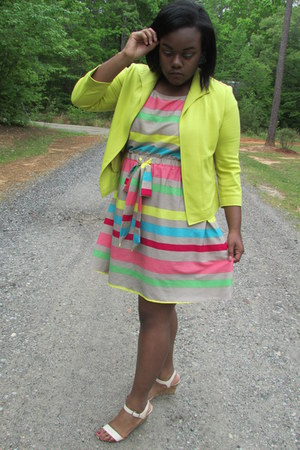 lime green colors stripes Rainbows dress - eggshell nude heels GoJane wedges