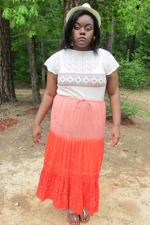 carrot orange orange sequins Skirt skirt - eggshell knitthrift Blouse blouse