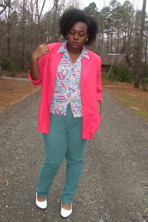 turquoise blue thrifted corduroy pants - hot pink pink Blazer blazer