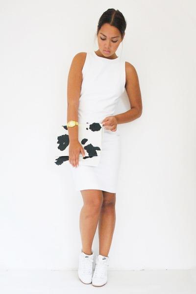 Zara dress - Stylebonbon DIY bag - nike sneakers - Michael Kors watch