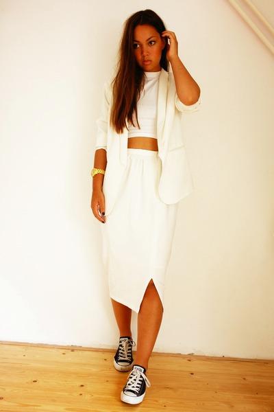 asos skirt - H&M blazer - Primark top - All Stars sneakers - Michael Kors watch