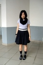 twopercent scarf - Zara t-shirt - Baby Jane belt - wish list skirt - Uniqlo stoc