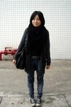 scarf - twopercent t-shirt - lisamina coat -  jeans - dizen de brand purse - Co