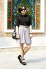 Black-chapel-shirt-brown-mango-belt-gray-skirt-black-mango-bag-gray-paul