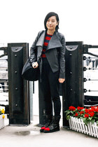 black leather jacket - black united colors of benetton bag - black chapel ring -